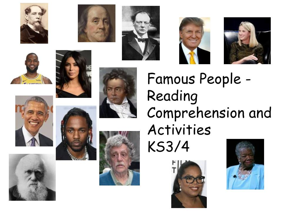 GCCE English Famous People Reading Comprehension and Activities for KS3/4