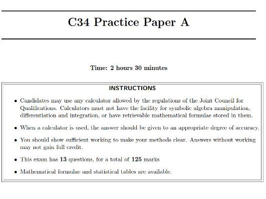 C34 Practice papers A - C