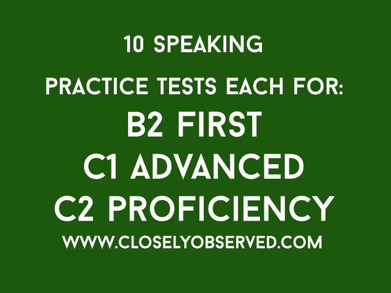 30 Speaking Tests of the Cambridge Main Suite