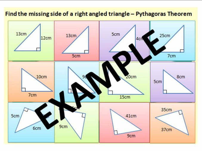 Pythagoras - Longer and Shorter Sides (including CATCHPHRASE STYLE ACTIVITIES)