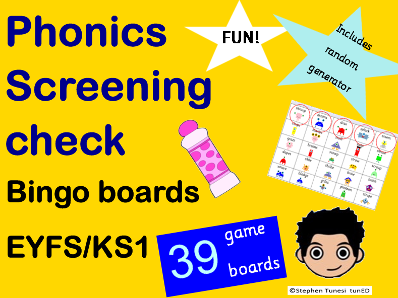 Fun Phonics Screening Check Bingo game 39 boards (3 different sets of nonsense words)  KS1 Yr1  EYFS