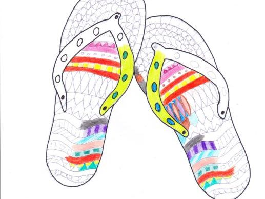 Pair of flip flops - mindfulness colouring sheet