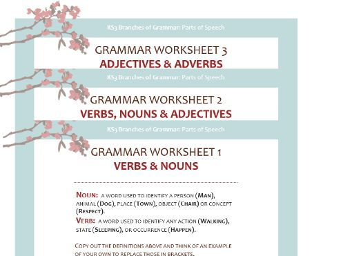 Grammar Worksheet Pack: Nouns, Verbs, Adjectives and Adverbs