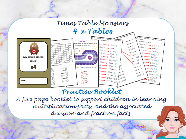 4 x Tables Practise Booklet