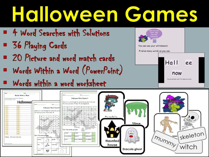 Halloween Games: Word Searches, Playing Cards, Picture/Word Match-Ups, Words within Word