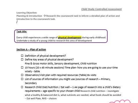 WJEC Child Dev -Child Study -COMPLETE Controlled assessment resources -Tasks & Lesson Plans, tracker
