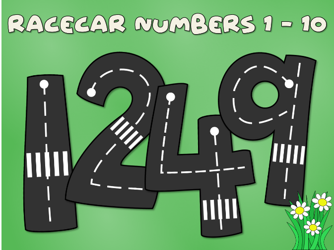 Road numbers for number tracing with a toy car