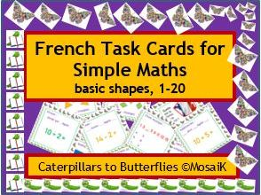 French numbers 1-20, 54 task cards