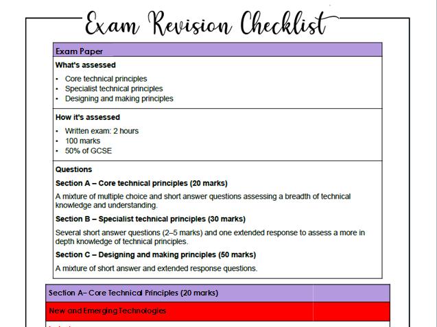 Exam Revision List-Textiles-AQA Specification