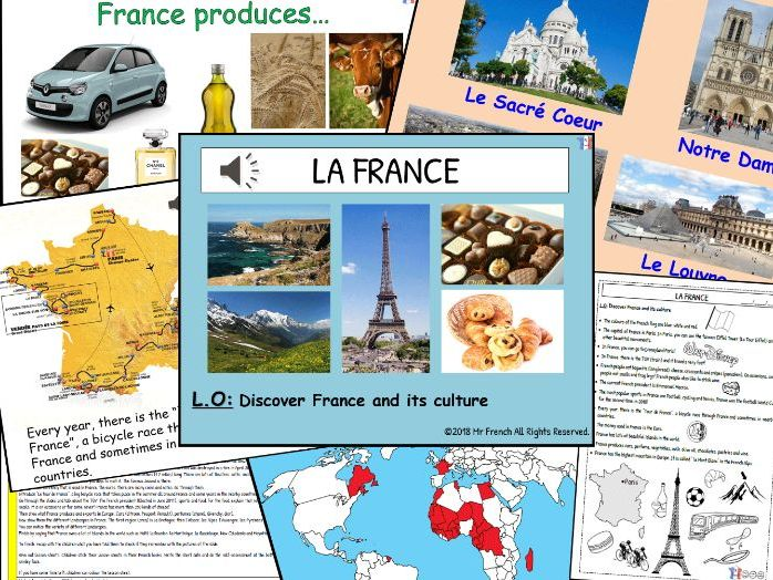 Introduction France and its culture - 1 lesson! Y3/Y4/Y5/Y6   (2nd Grade-> 5th Grade)