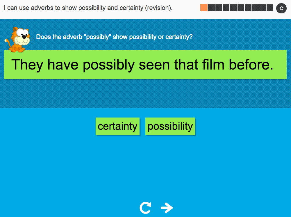 I can use adverbs to show possibility and certainty (revision) - Interactive Activity - Year 6 Spag