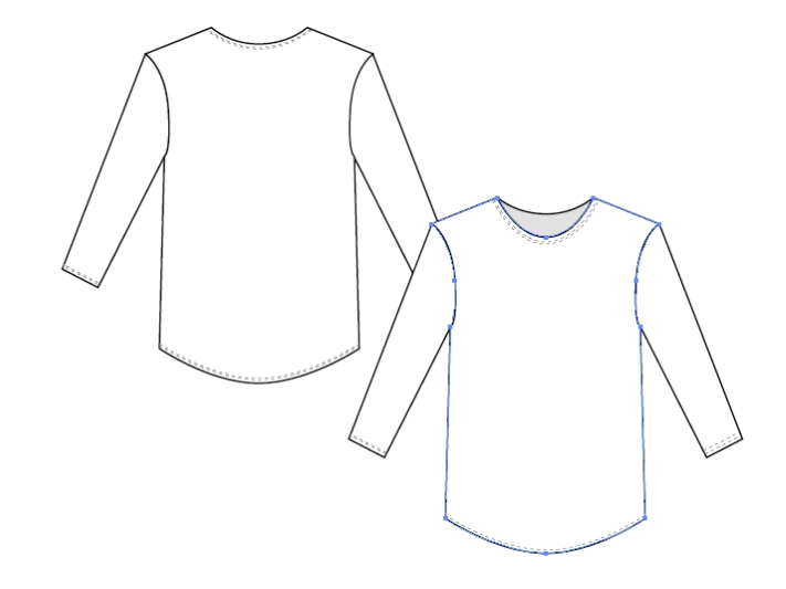 Step by Step instructions on how to draw fashion flats - part 2 (tee-shirt)