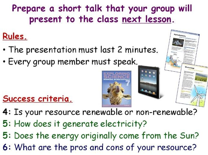 Using Energy Resources (Renewable & Non-Renewable) Year 7 Double Lesson PowerPoint (KS3 7Id 7Ie)