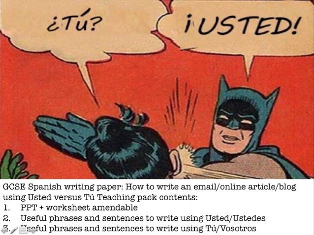 GCSE Spanish Writing: How to write an email or article using Usted versus Tú