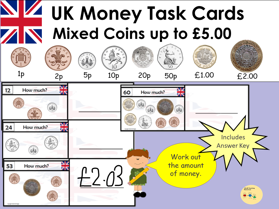 UK Money Task Cards - Adding up Mixed Coins to value £5 - Recording Sheet, Blank Cards and Coins KS1
