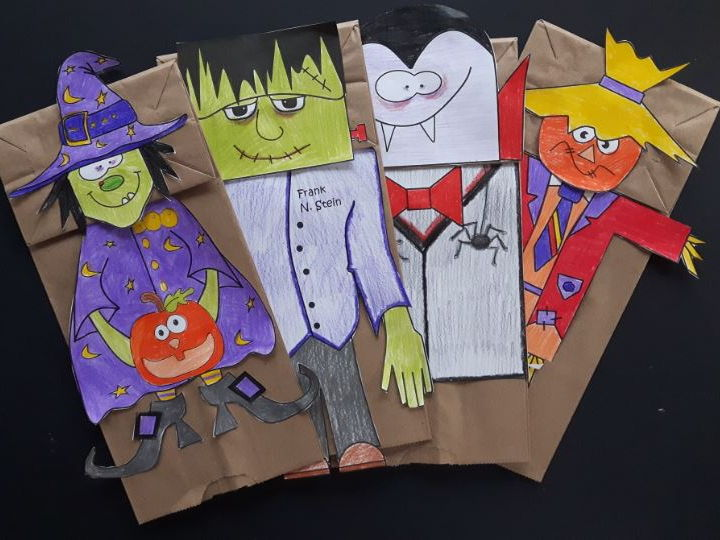 Hallowe'en Creatures Paper Bag Puppets
