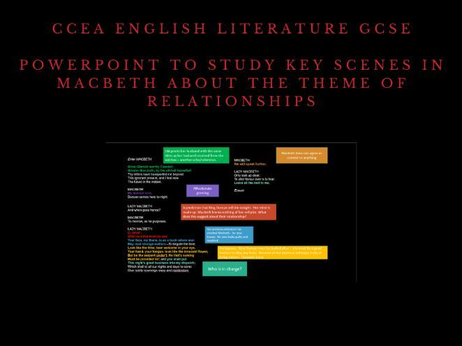 CCEA: The study of Shakespeare Macbeth Relationships Theme