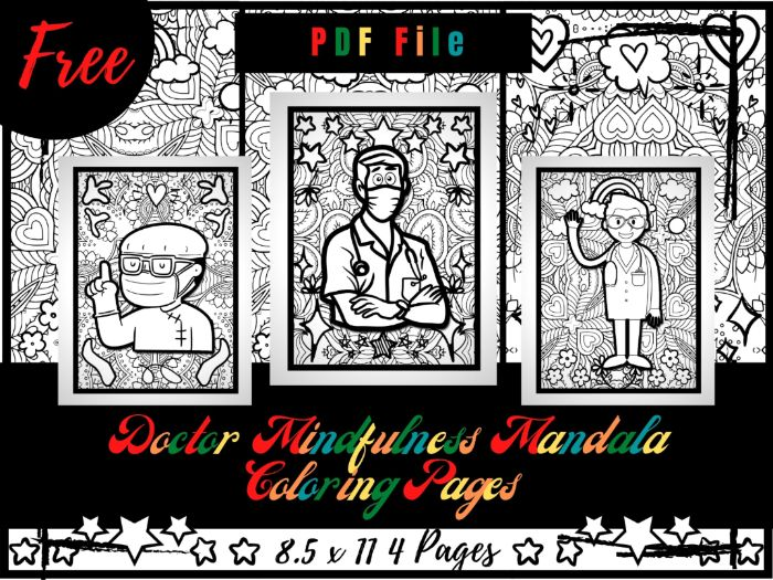 FREE Doctor Mindfulness Mandala Coloring Pages, FREE Profession Coloring Printable Sheets PDF
