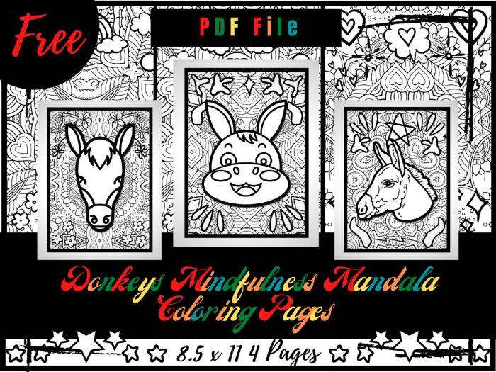 FREE Donkeys Mindfulness Mandala Coloring Pages, FREE Animals Coloring Printable Sheets PDF