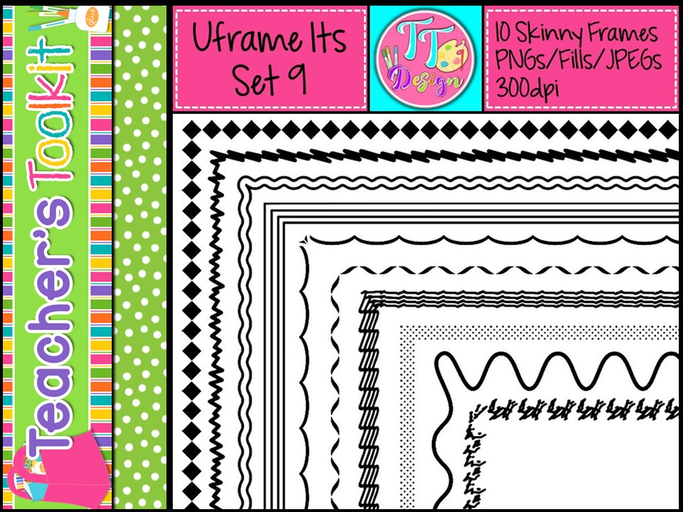 'UFrame Its' Set 9 Skinny Worksheet Frames Borders Clip Art CU OK