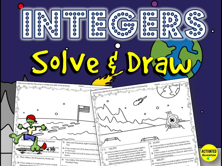 Integers & Absolute Value Solve & Draw Activity