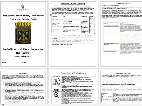 OCR Tudor Rebellions Revision and Course Guide