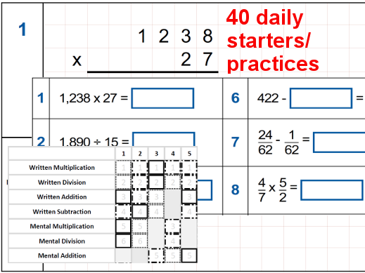 Arithmetic Revision/Practice Year 6 - 40 practice sets of 10 questions with QLA assessment