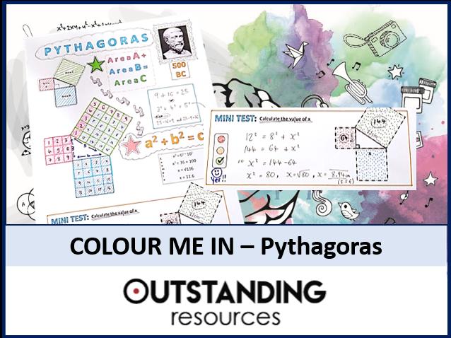 Colour Me In Sheets or Doodle Notes - PYTHAGORAS