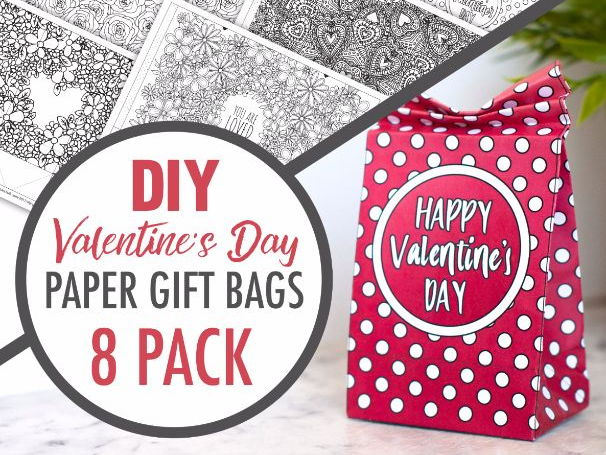 picture about Printable Gift Bags known as Do it yourself Valentines Working day Paper Present Luggage 8 Printable Templates towards Produce your private paper present bag