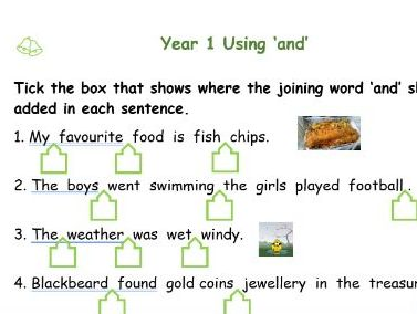 Using 'and' for Year 1