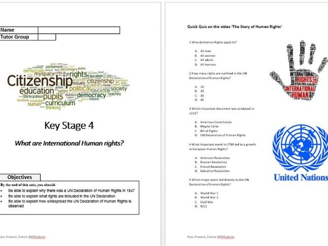 KS4 Citizenship resources on International Human Rights