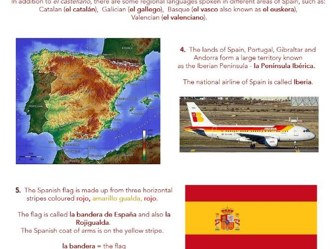 Facts About Spain: worksheets with web pages