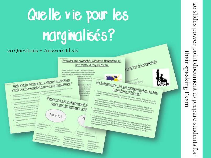 Quelle vie pour les marginalisés  - Questions/Answers for the speaking exam (French A2 Exclusion)