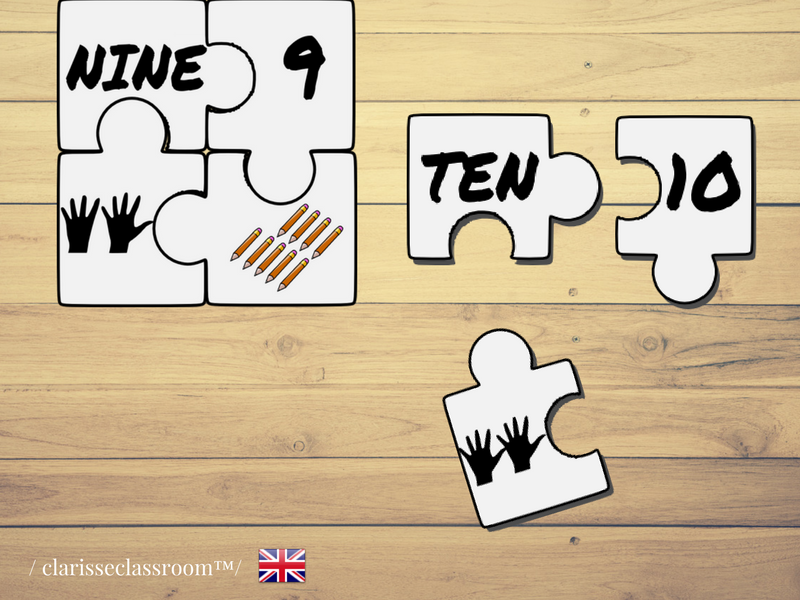 Numbers Puzzles 1 to 10⎜Number Recognition and Counting⎜ Printable Puzzles⎜Learning  English