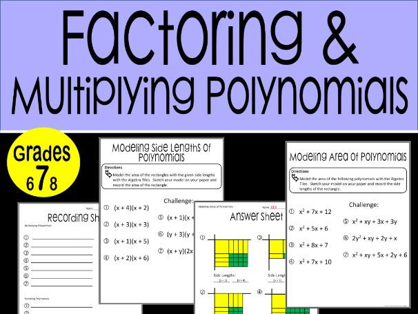Factoring and Multiplying Polynomials Math Stations