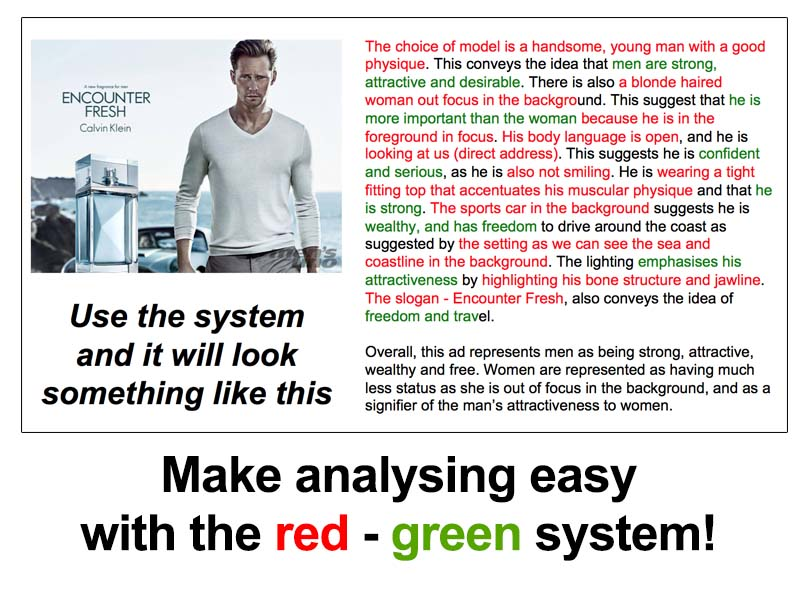 Make media analysis easy with the red-green system!