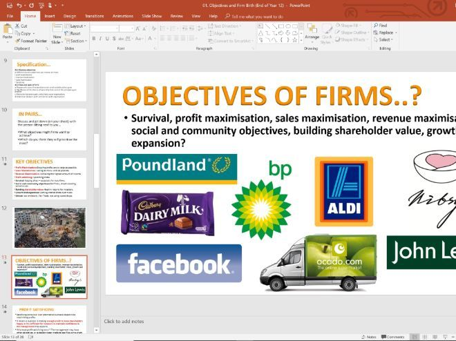 01. Objectives of Firms (Slides, Activities and Notes) - Edexcel A-Level Economics - Theme 3