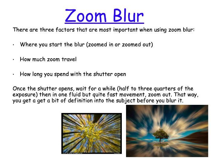 Photography - Zoom Blur