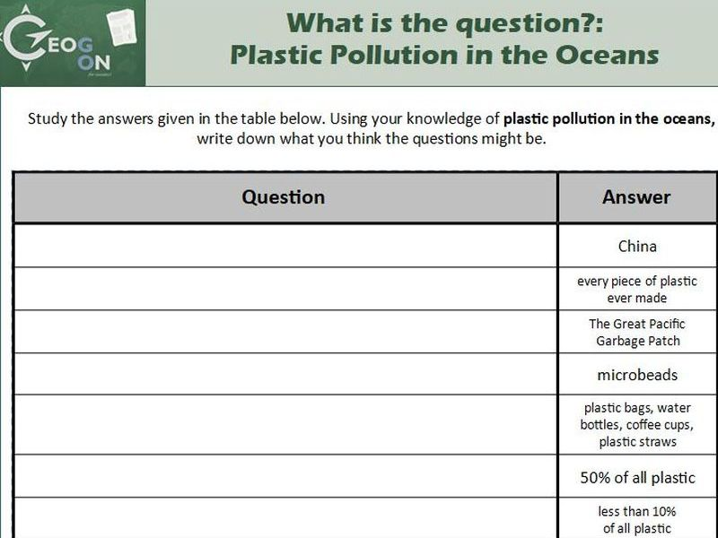 What is the question?: Plastic Pollution in the Oceans