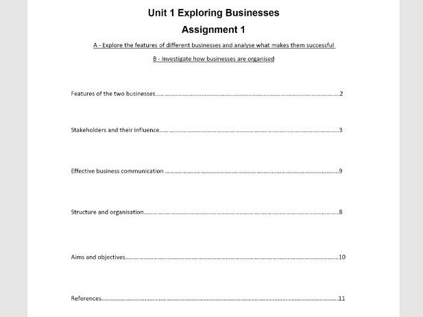 Unit 1 Exploring Business Assignment 1 Learning aims A & B