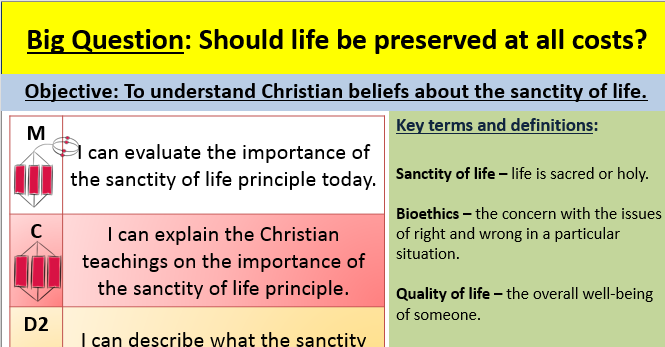 Sanctity of life EDEXCEL GCSE (9-1) RE Paper 1 Unit 4 Matters of life and death