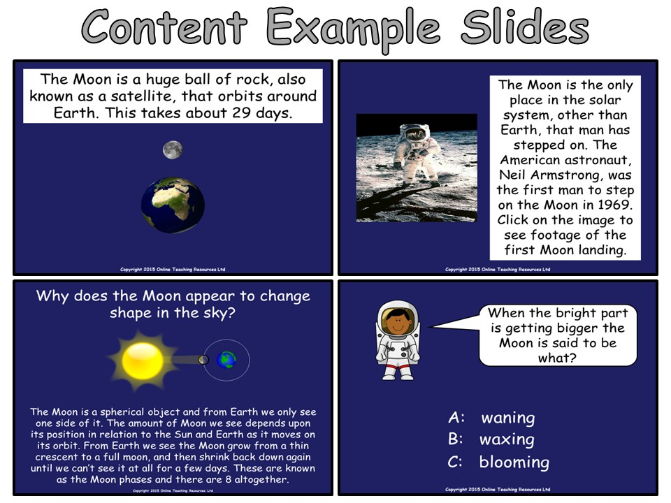 The Moon - Interactive PowerPoint presentation and worksheet