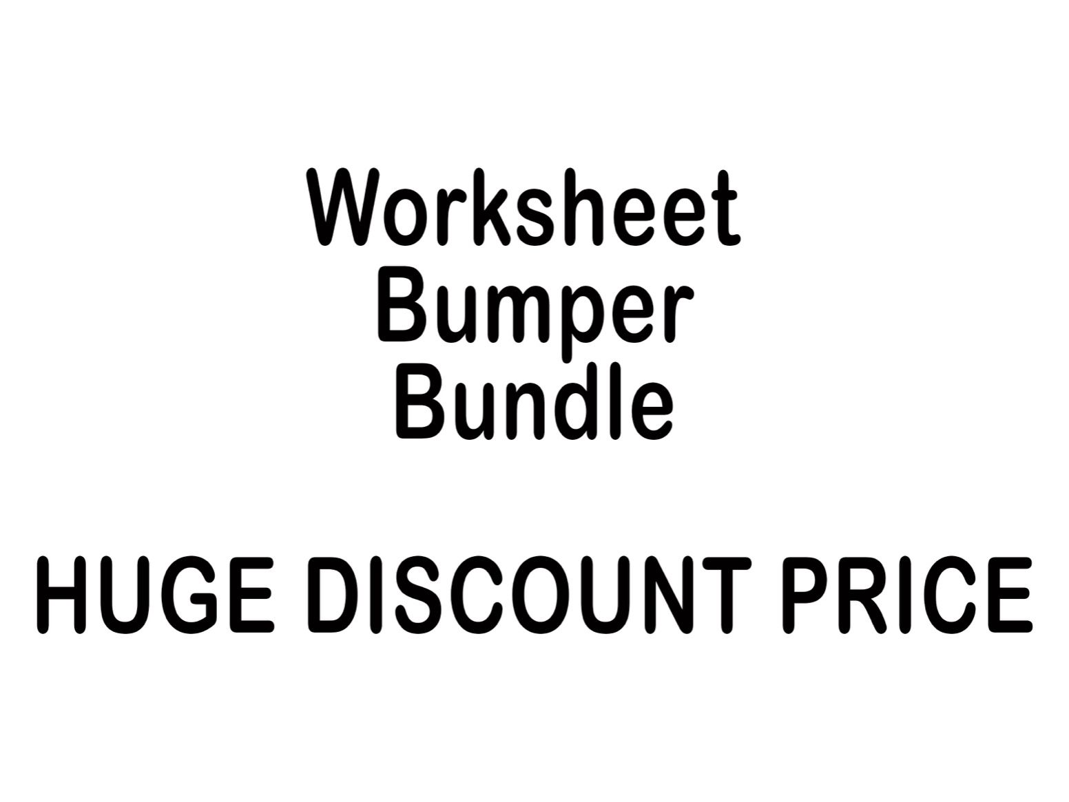 Worksheet Bumper Bundle
