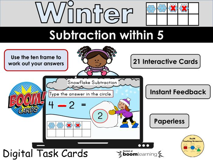 Subtraction within 5 Taking away Winter Snowflakes BOOM Cards Home Distance Learning Game