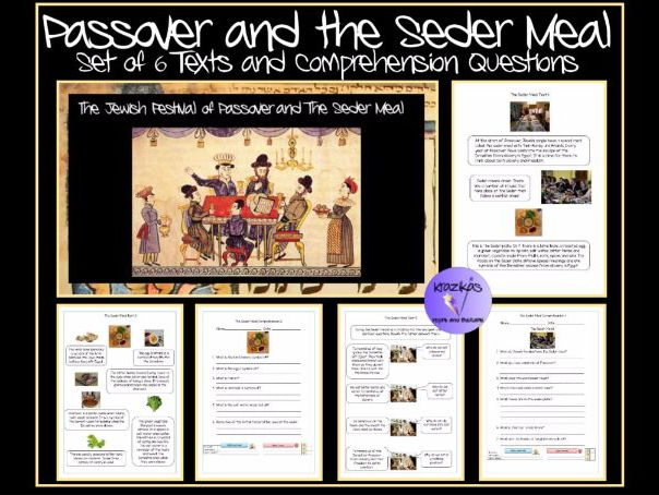 Passover and The Seder Meal - Set of 6 InformationTexts and Comprehension Questions