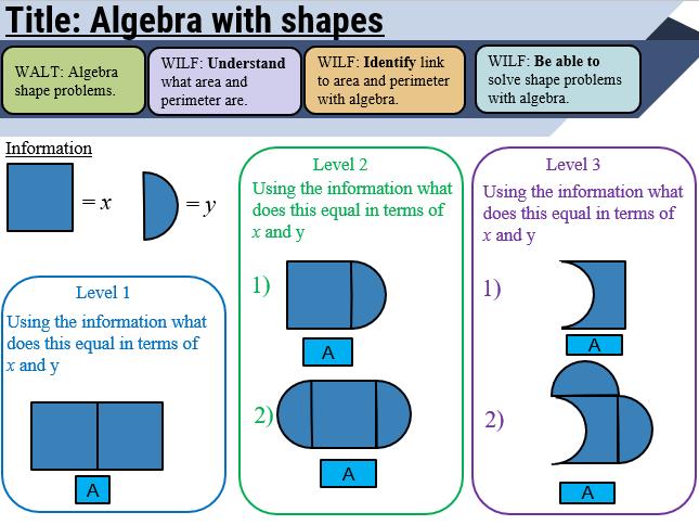 Algebra and shape lesson