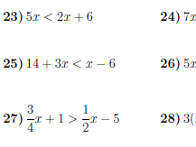 Linear inequalities worksheet (with solutions)