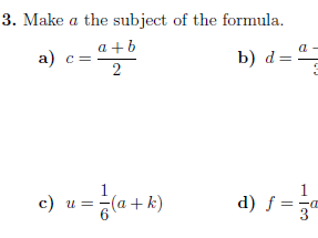Rearranging formulae worksheet (with solutions)