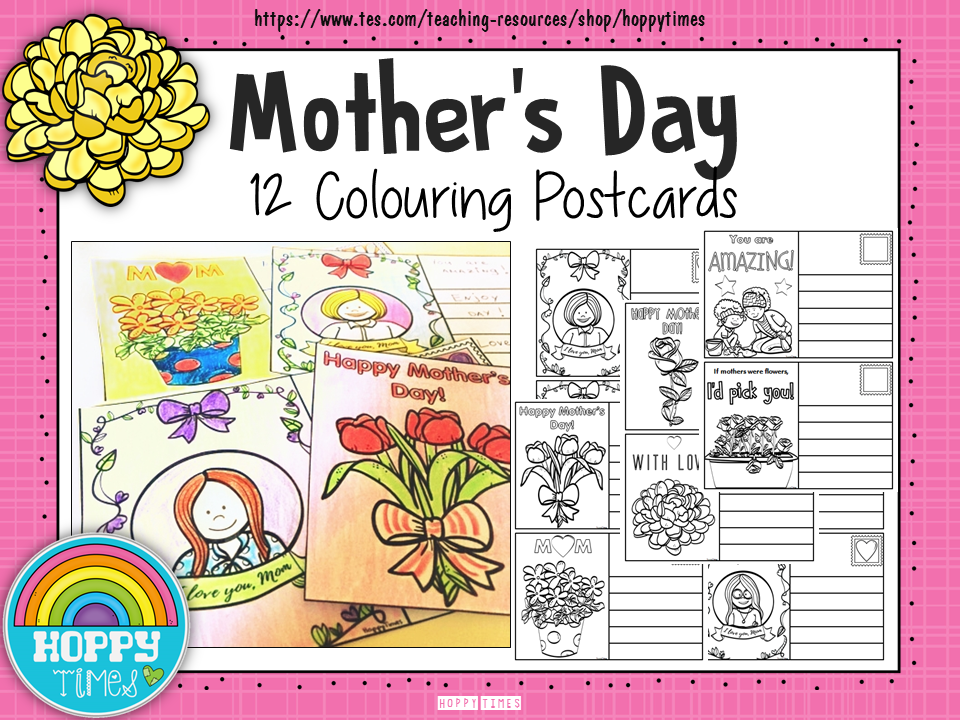 Mother's Day Colouring Cards/ Postcards
