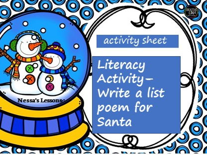 Winter Literacy Activity - Write a list poem for Santa